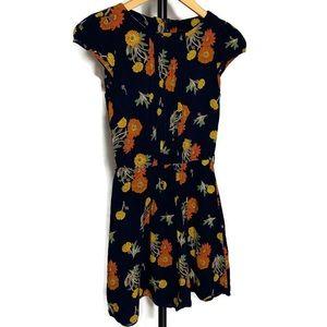 ASOS Women's Navy Blue Floral Mini Dress
